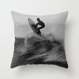 Surf black white Throw Pillow