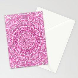 Pink Magenta Detailed Ethnic Eclectic Mandala Mandalas Stationery Cards