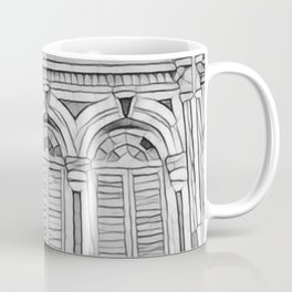 B&W Victorian Styled Shop Houses Coffee Mug