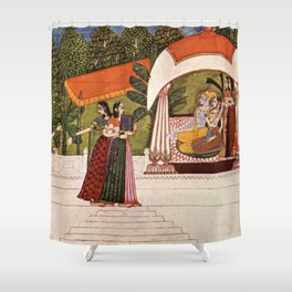 Indian Masterpiece: Krishna and Radha in a pavilion portrait painting Shower Curtain