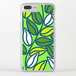 Modern Green Leaves Clear iPhone Case