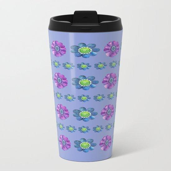 Blue and Purple Pattern II Metal Travel Mug