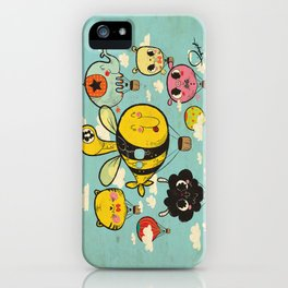 Happy Flight / The Animals Hot Air Balloon Voyagers / Patterns / Clouds iPhone Case