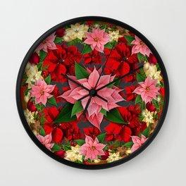 DECORATIVE  RED & PINK POINSETTIAS CHRISTMAS ART Wall Clock