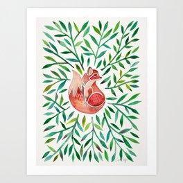 Woodland Fox – Green Leaves Art Print