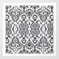 damask Art Prints featuring Damask by Pink Fox Designs