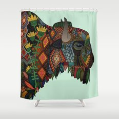 bison mint Shower Curtain