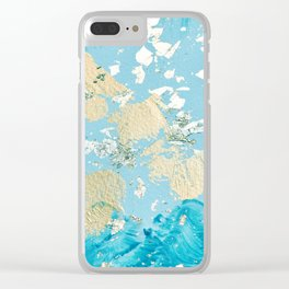 Gold Abstract Modern Painting Clear iPhone Case