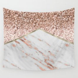 Shimmering rose gold with rose gold marble Wall Tapestry