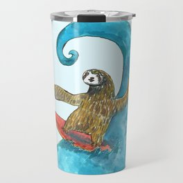 surfing sloth in the spring Travel Mug