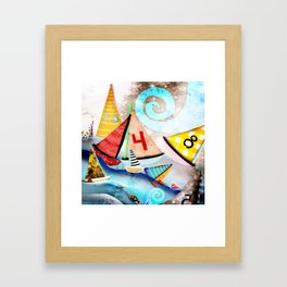 Wooden sail boat Love - Wild ocean waves Framed Art Print