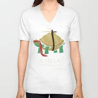 ninja turtle V-neck T-shirts featuring ninja - red by Louis Roskosch