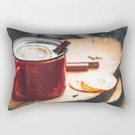 Mulled wine in a red ceramic mug Rectangular Pillow