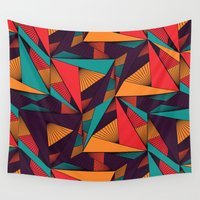 arya Wall Tapestries featuring Hexagonal Lines and Triangles by Hinal Arya