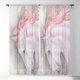 Purple Pink Andalusian Horse Equine Watercolor Art Sheer Curtain