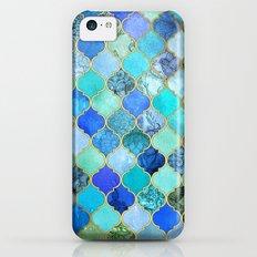 Cobalt Blue, Aqua & Gold Decorative Moroccan Tile Pattern Slim Case iPhone 5c