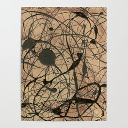 Pollock Inspired Abstract Black On Beige Poster