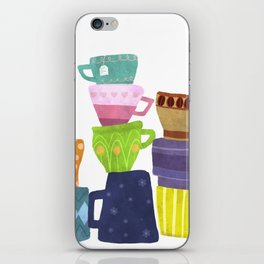 Coffee And Tea Cups And Mugs Stacked High iPhone Skin