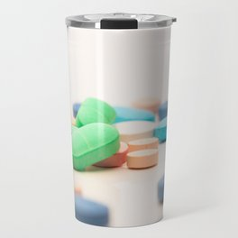 Numerous medicines Medications in the form of tablets. Colored pills on a white background. Travel Mug