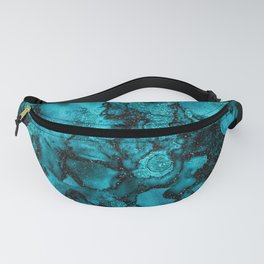 Blue Gemstone and Ink Malachite Glitter Marble Fanny Pack
