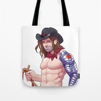 bucky barnes Tote Bags featuring Pinup Bucky by Madeoftin