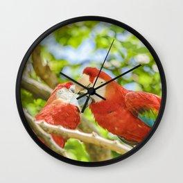 Ecuadorian Parrots Kissing at Zoo, Guayaquil, Ecuador Wall Clock