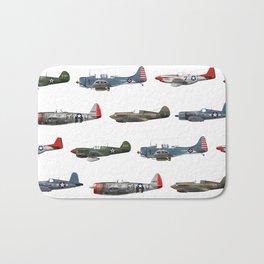 Pattern of World War 2 Fighter Planes Bath Mat