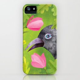 Jackdaw in green iPhone Case