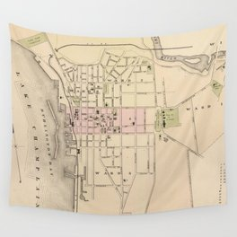 Vintage Map of Burlington Vermont (1873) Wall Tapestry
