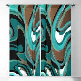 Liquify - Brown, Turquoise, Teal, Black, White Blackout Curtain