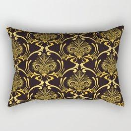 Art Deco French Royale Gold Ornate Pattern Rectangular Pillow