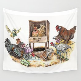 """Life in the Coop"" funny chicken watercolor Wall Tapestry"