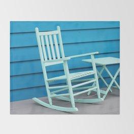 Coastal Beach House Art - Blue Rocking Chair - Sharon Cummings Throw Blanket
