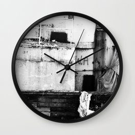 Destroyed - B/W Wall Clock