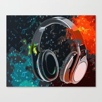 headphones Canvas Prints featuring Headphones by Gift Of Signs