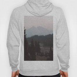 Pine forest In The Foreground Mountain In The Distance Modern Minimalist Photo Hoody