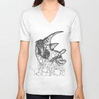 rhino V-neck T-shirts featuring Rhino by Julia Kisselmann