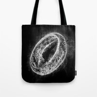 lord of the ring Tote Bags featuring Ring Smoke by Donnie