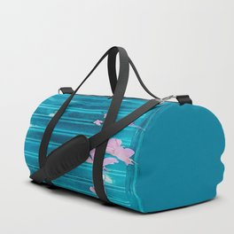 blue wooden wall pink jasmine minimal Duffle Bag