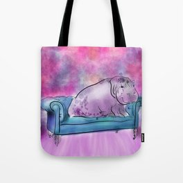 animals in chairs #9 variations on a theme Hippo Tote Bag