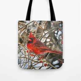 Winter Cardinal by Teresa Thompson Tote Bag