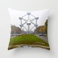 brussels Throw Pillows featuring Atomium Brussels Painted Photography by Premium