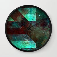 vagina Wall Clocks featuring Emerald Nebulæ  by Aaron Carberry