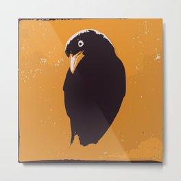 Raven in yellow and black art print Metal Print