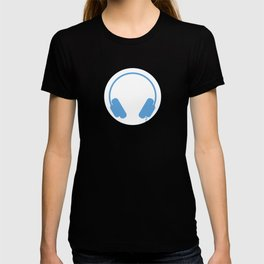 Symbol: Headphones white on blue T-shirt