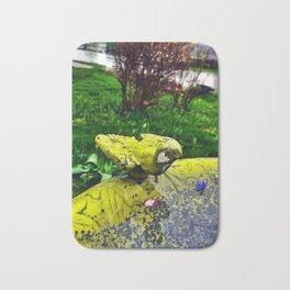 Bird Bath on a Rainy Spring Day Bath Mat