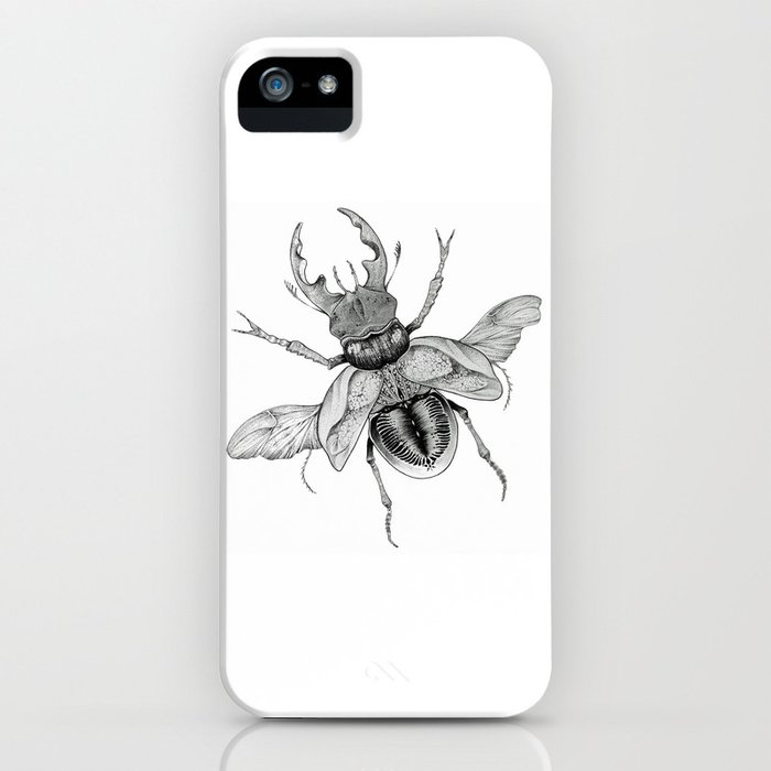 Dotwork Flying Beetle Illustration iPhone Case