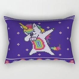 Unicorn celebrating for Christmas Rectangular Pillow