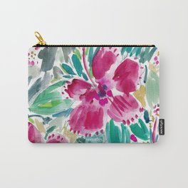 HOLIDAY HIBISCUS Painterly Floral Carry-All Pouch