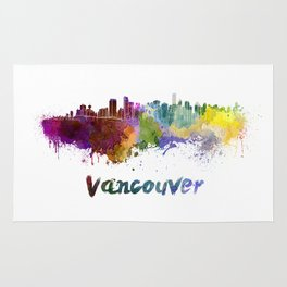 Vancouver skyline in watercolor Rug